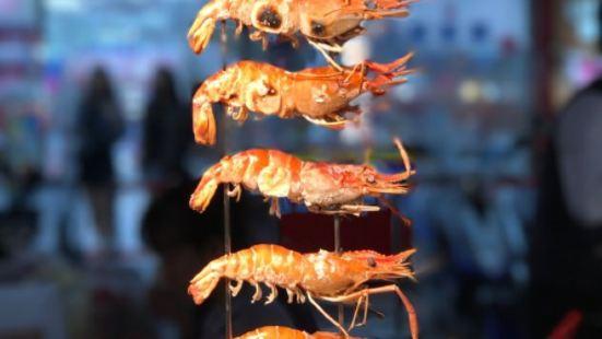 虎園烤活蝦,大腸包小腸